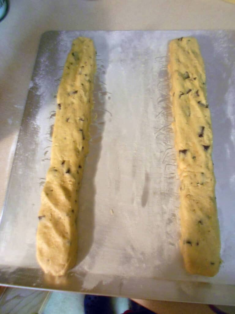 Homemade Biscotti cookie dough made into logs