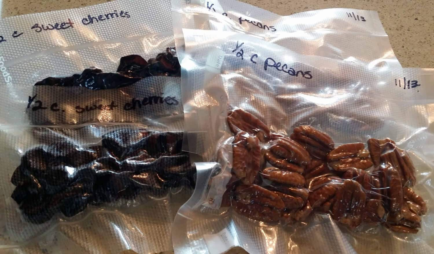 dehydrated cherries and pecans for Bishop's Bread
