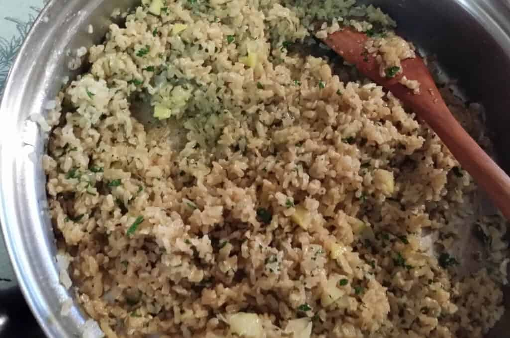 lemons and parsley stirred into the rice pilaf in large skillet