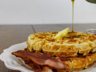 Sourdough waffles and bacon on a plate