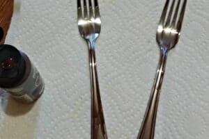 forks with brown paint for fork plant markers