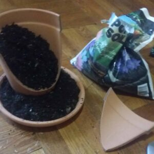 putting dirt in the fairy garden