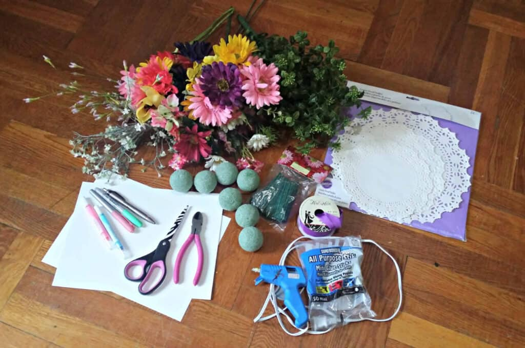 supplies for May Day Posies
