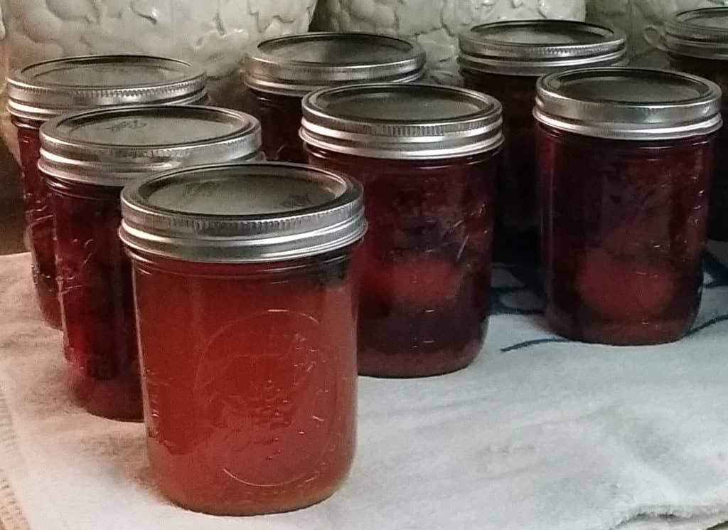 spiced plums and syrup cooling