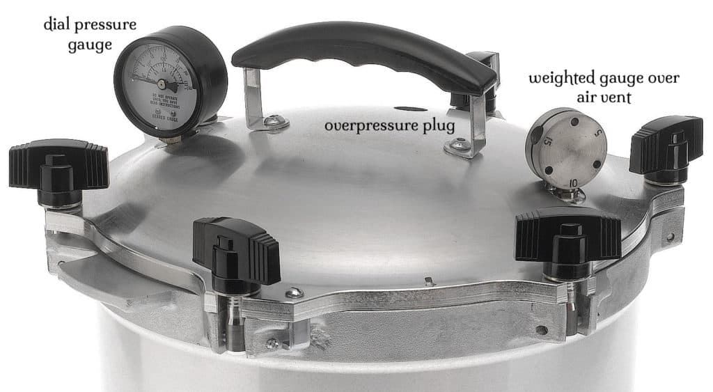 weighted gauge pressure canner lid with labels