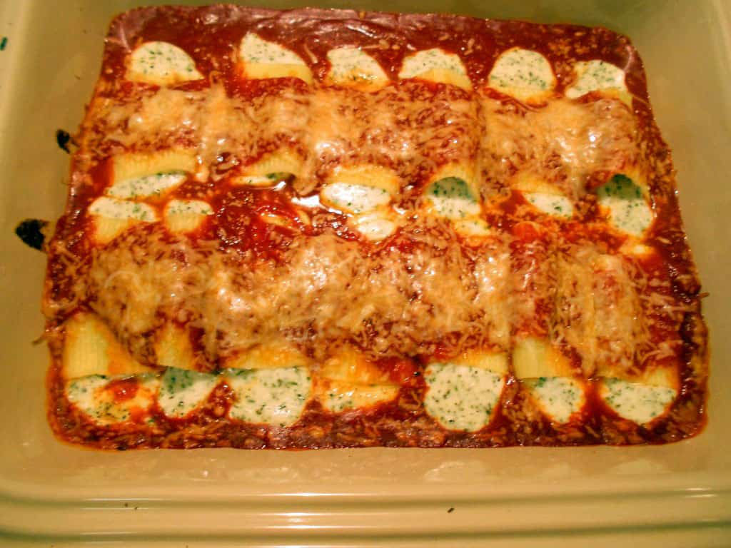baked manicotti straight from the oven