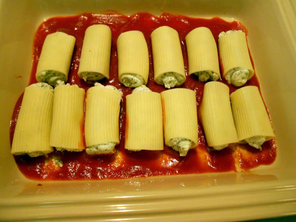 stuffed manicotti in baking dish
