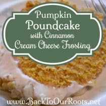 Delectable Pumpkin Poundcake with Cinnamon Cream Cheese Frosting