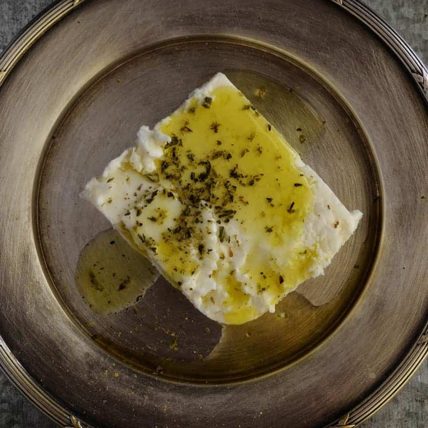 Homemade Feta Cheese on plate with olive oil
