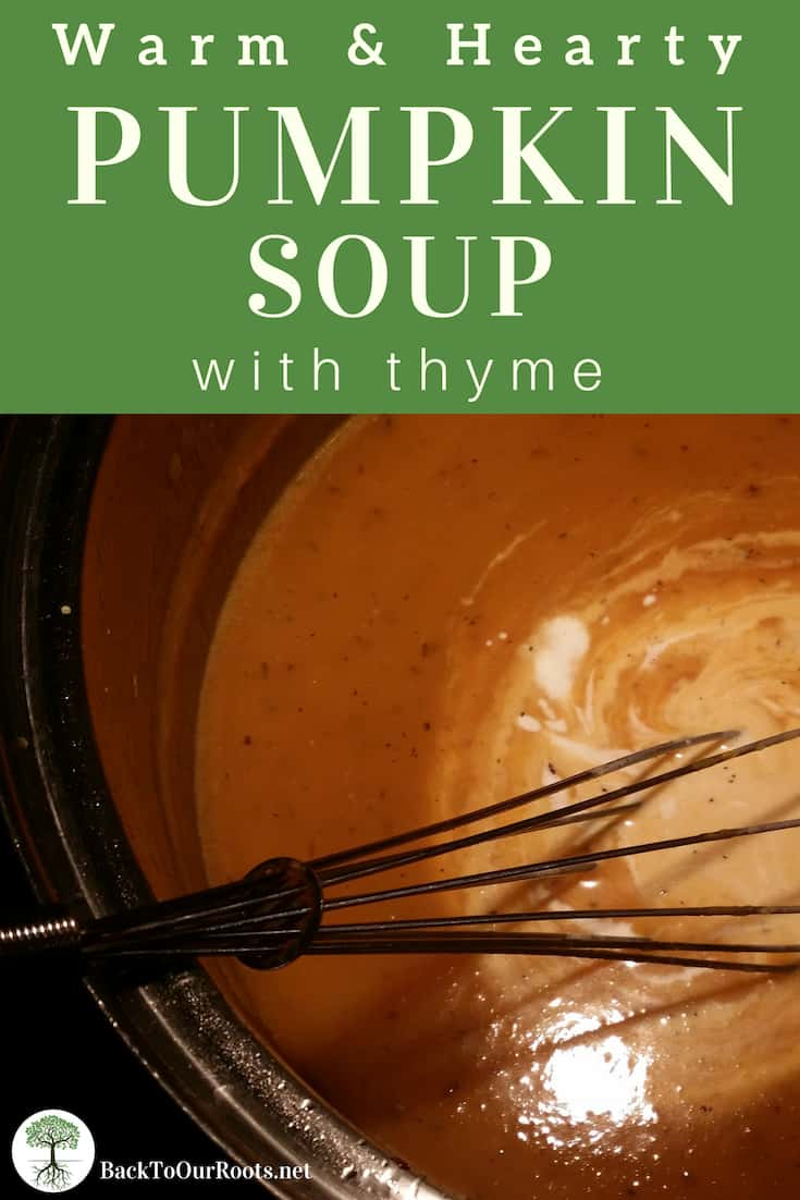 PUMPKIN THYME SOUP: This soup is rich and hearty and savory. It will fill you up on a fall or winter evening, and warm you right down to your toes! And made with homemade pumpkin puree, it's a frugal option for dinner any time.