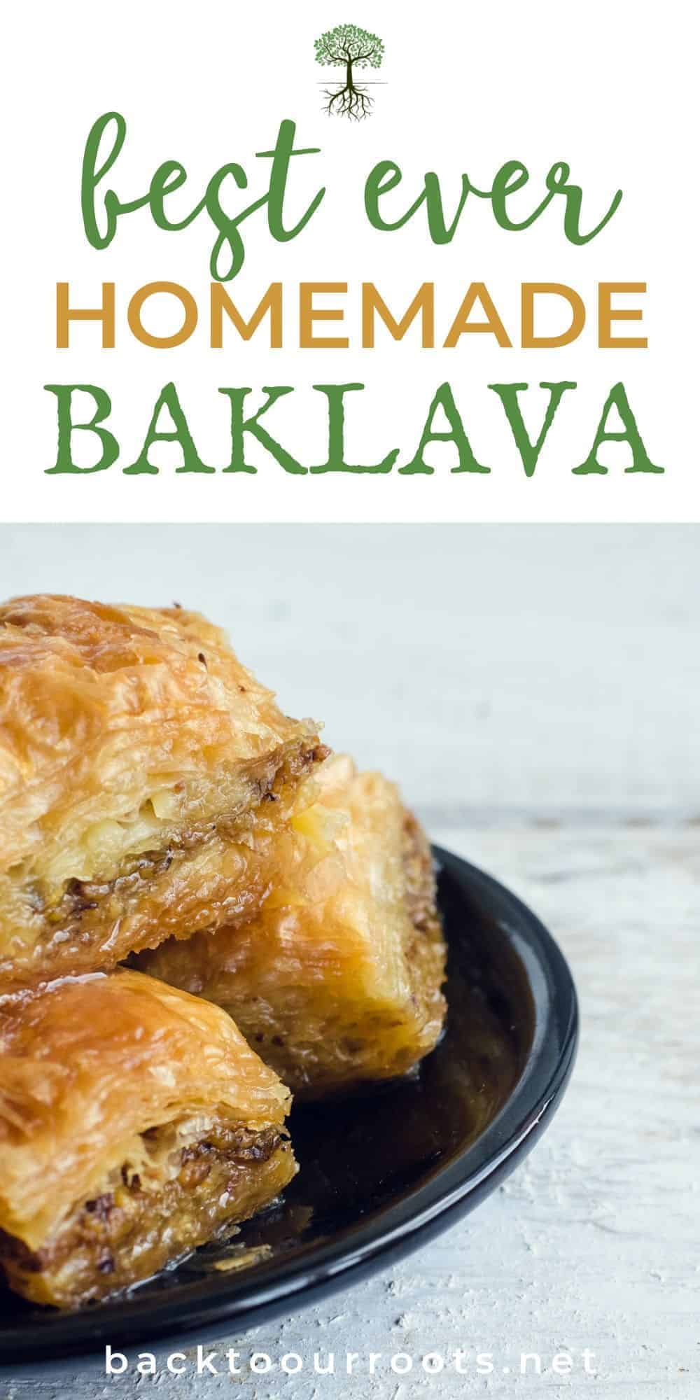 Homemade Greek Baklava on black plate