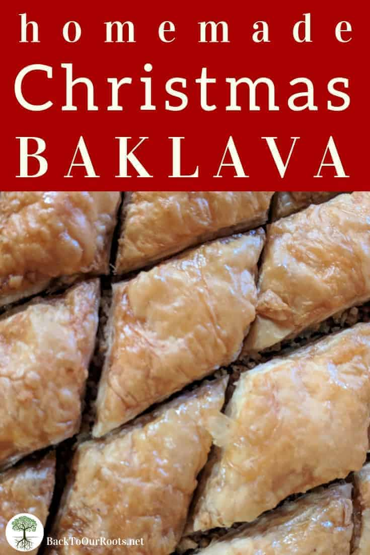 HOMEMADE BAKLAVA: This crispy sweet treat is easy to make and perfect for gifting at the Holidays. Layers of phyllo and chopped nuts drenched in a spiced honey syrup. What's not to love? Make some today!