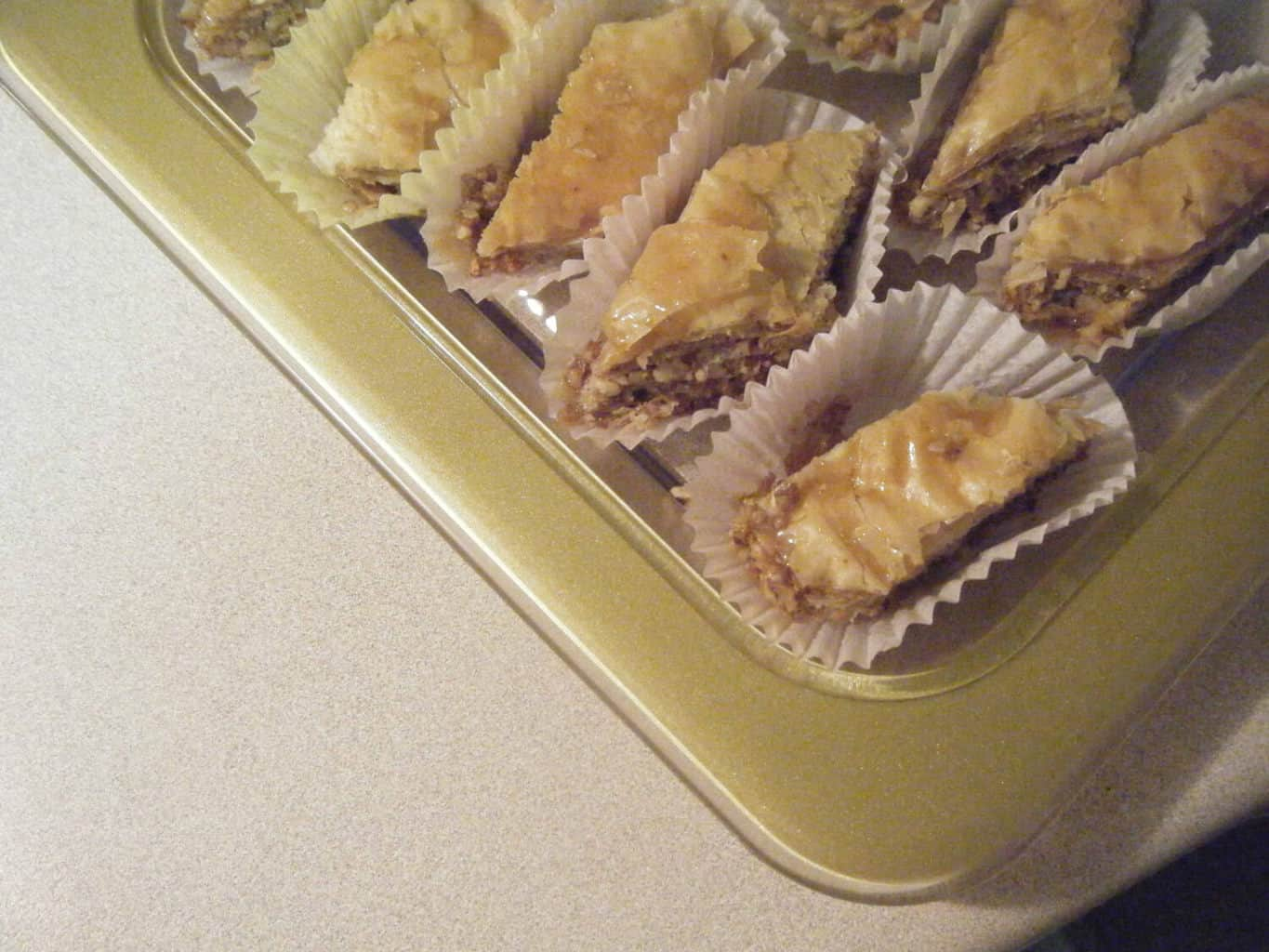 homemade Baklava ready to serve