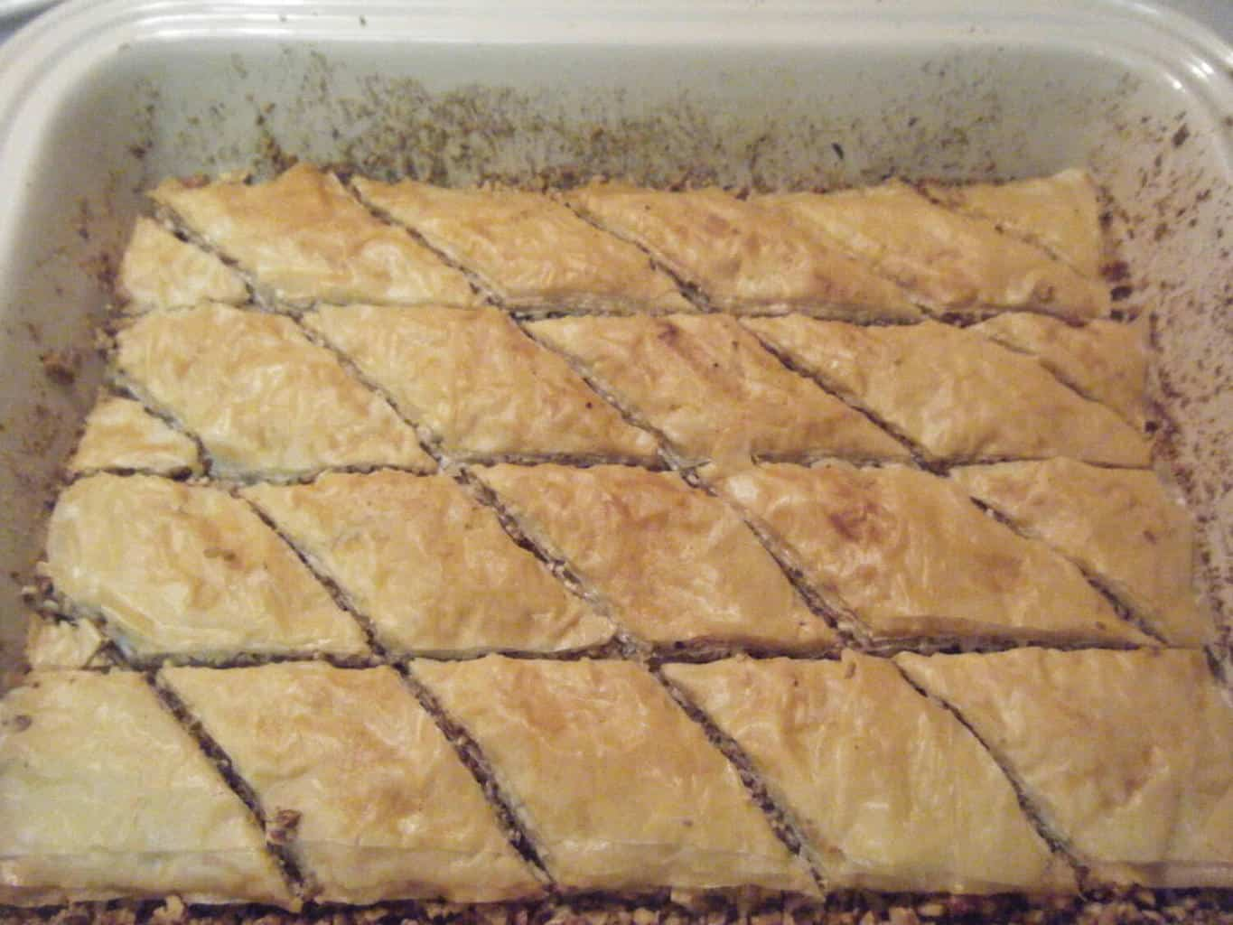 homemade Baklava baked to a golden brown