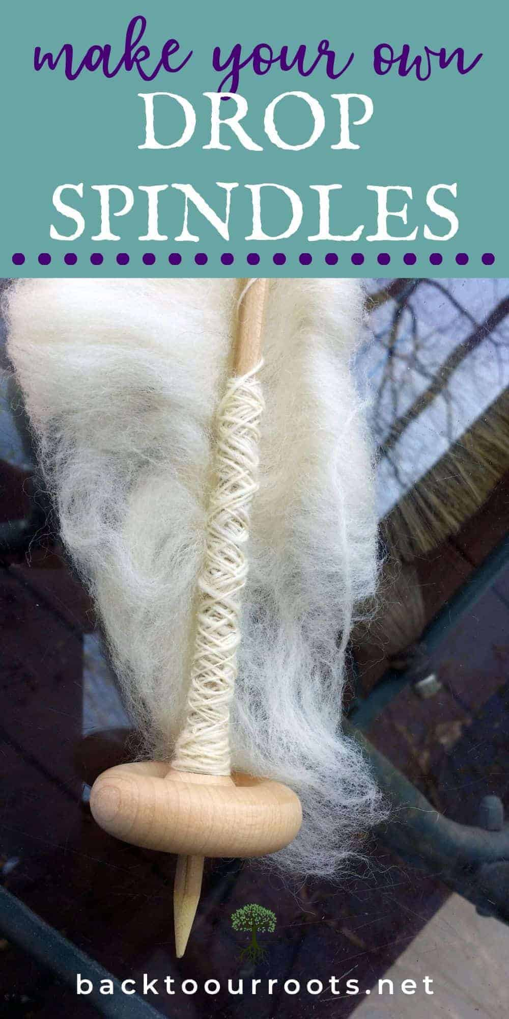 DIY Drop Spindle with white yarn on it