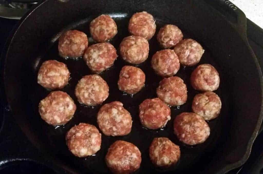 Italian sausage balls in cast iron skillet