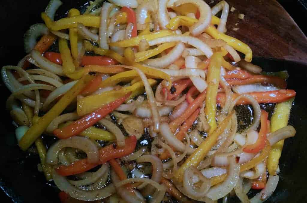 bell peppers onion and garlic sauteed til translucent