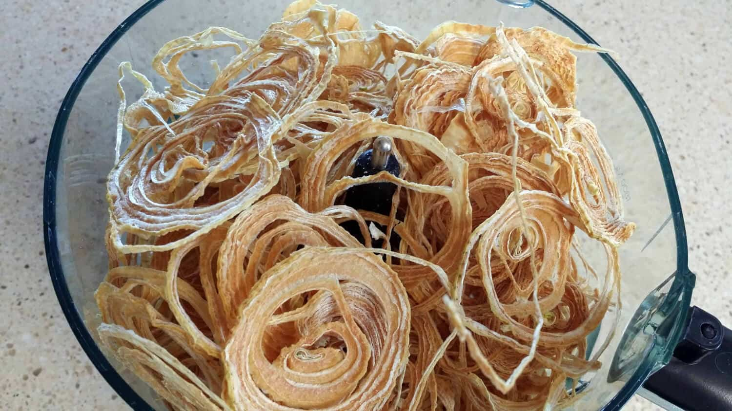 dried onions in food processor for easy homemade onion powder