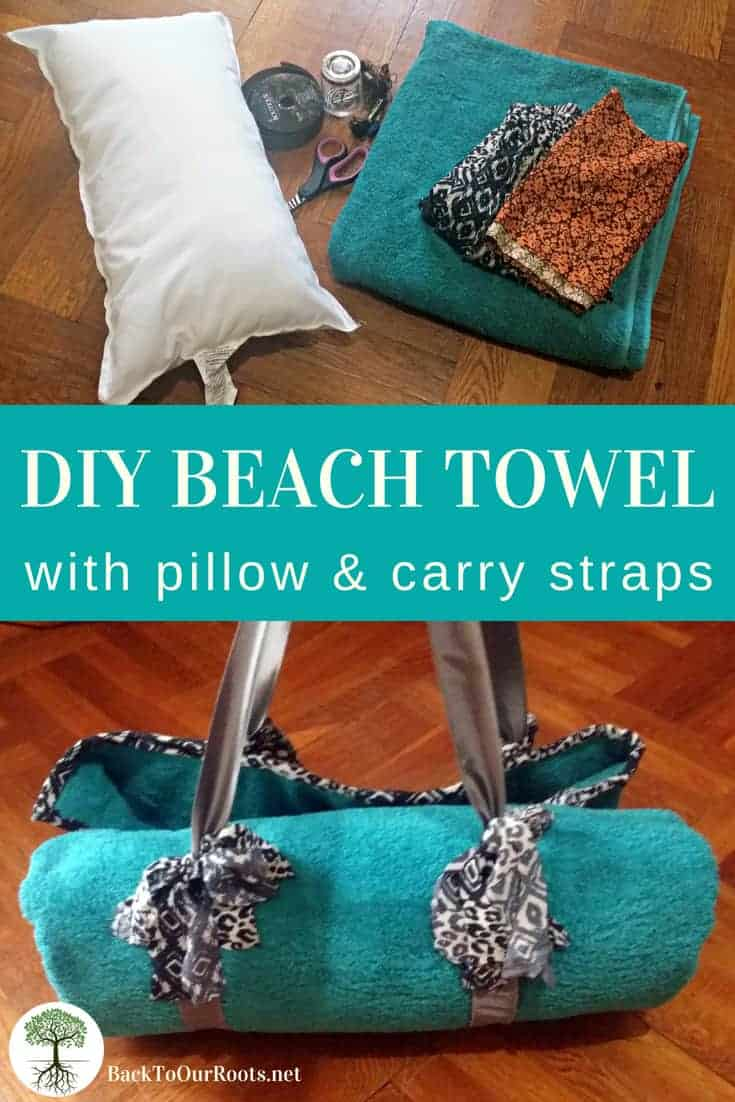 BEACH TOWEL WITH PILLOW AND CARRY STRAPS: This hand sewn beach towel with pillow is a great thing to keep in your car. You never know when you'll have an impromptu picnic or need to read a book in the park.