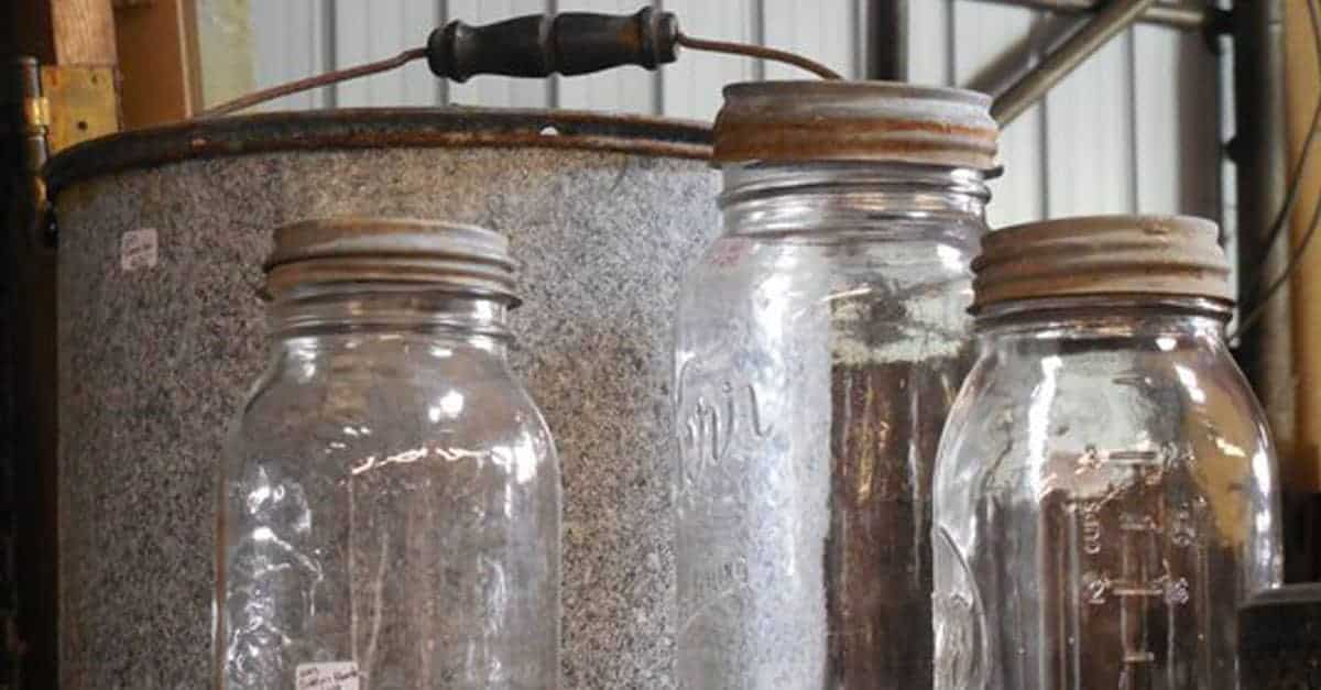 Antique canner and canning jars