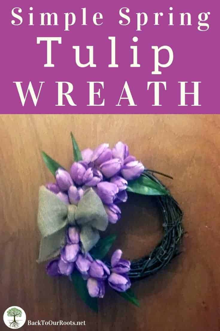 Simple Spring Tulip Wreath hanging on door