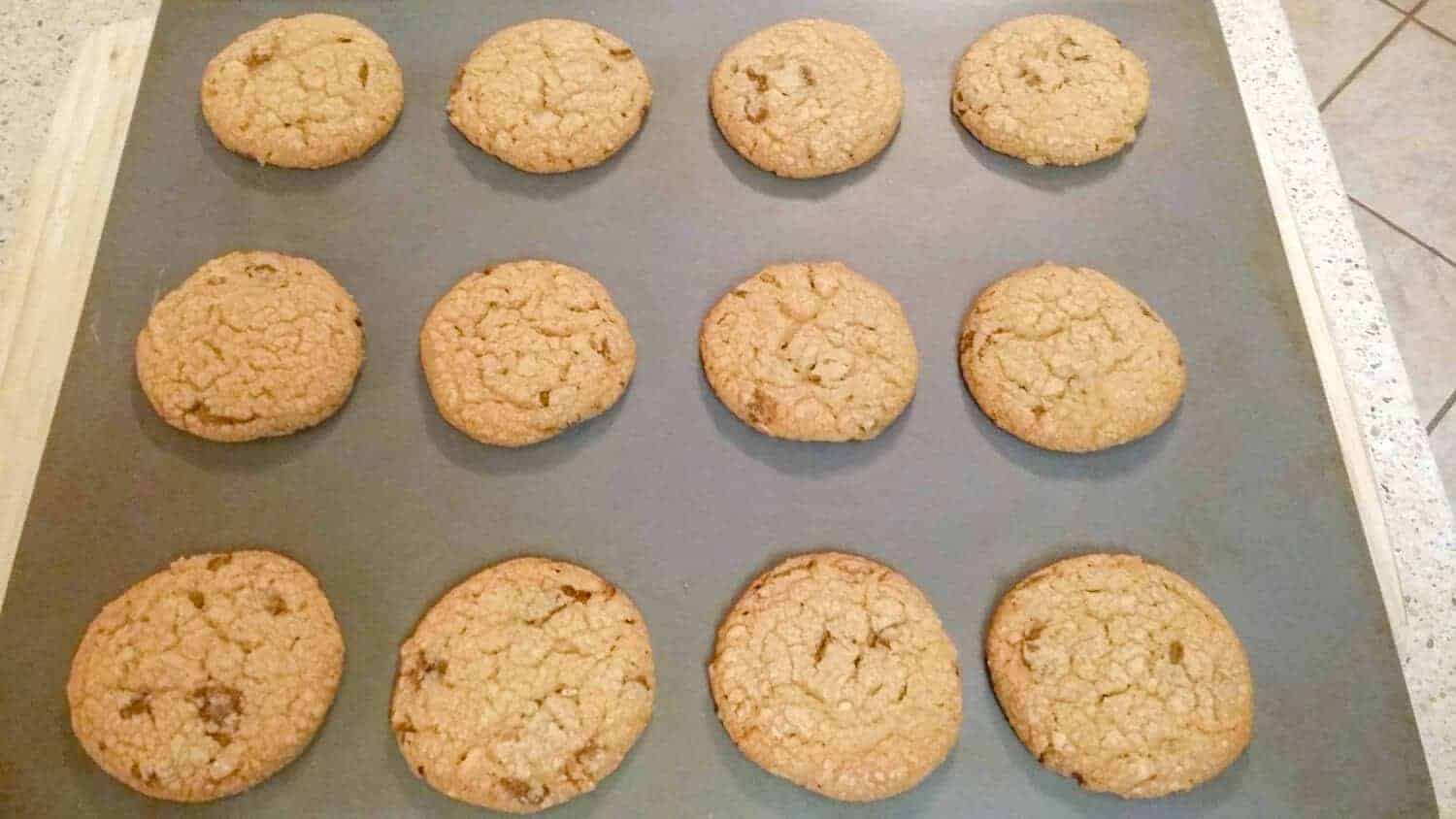 Peppermint Carob Pecan Cookies baked to perfection