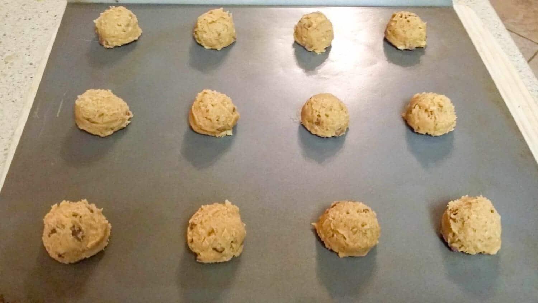 Peppermint Carob Pecan Cookie dough on baking sheet