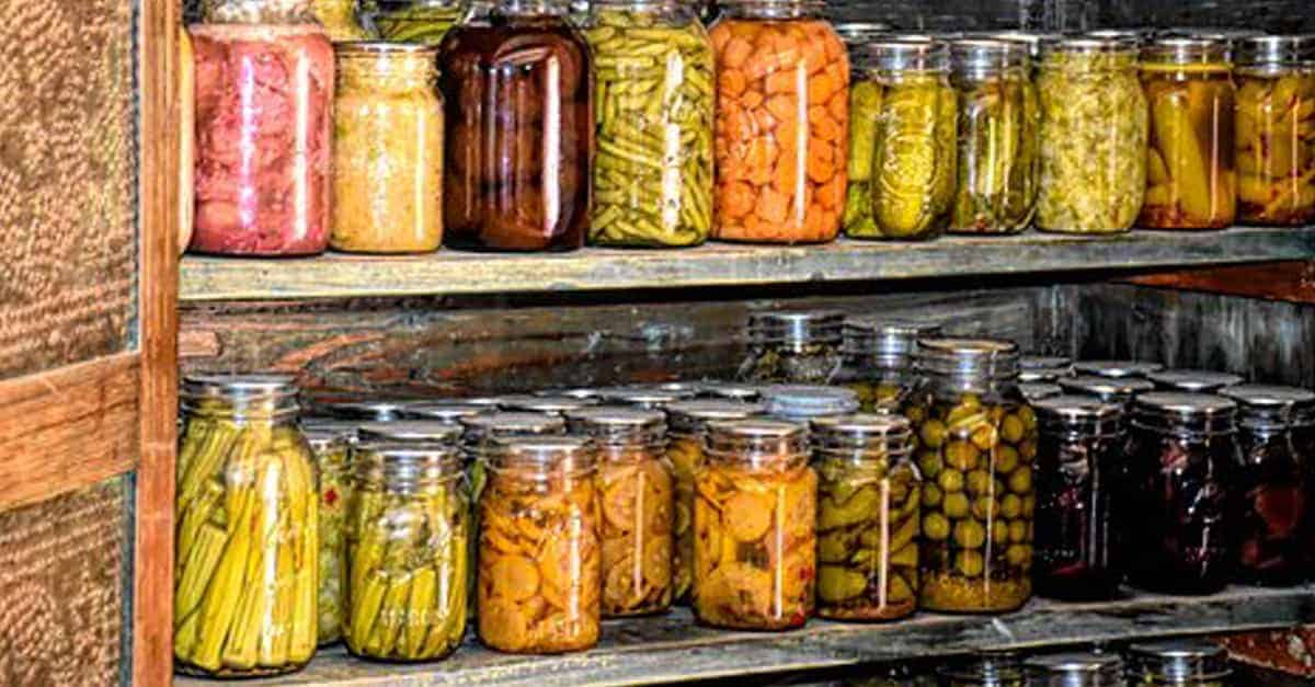 root cellar with canned goods on shelves