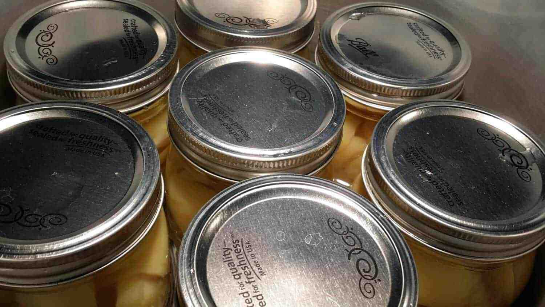 quart jars of potatoes in the pressure canner