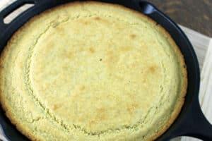 sourdough cornbread in cast iron skillet