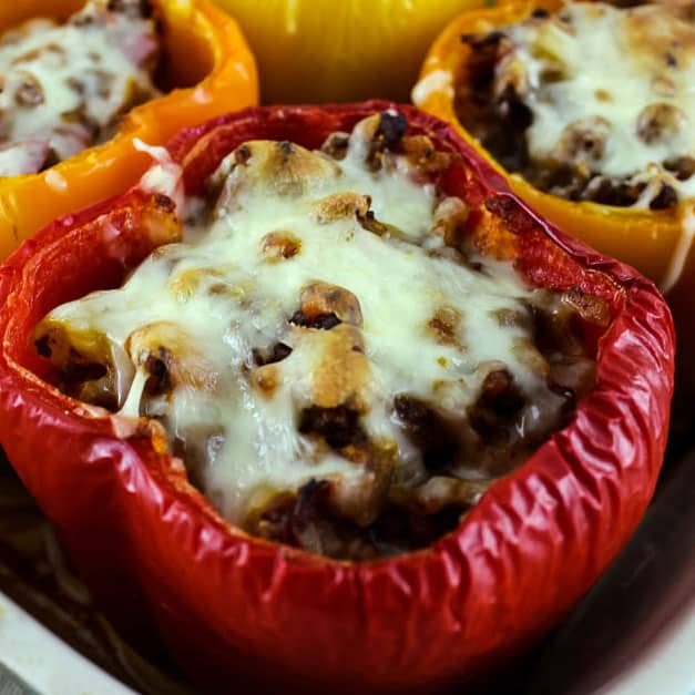 cooked, stuffed red bell pepper
