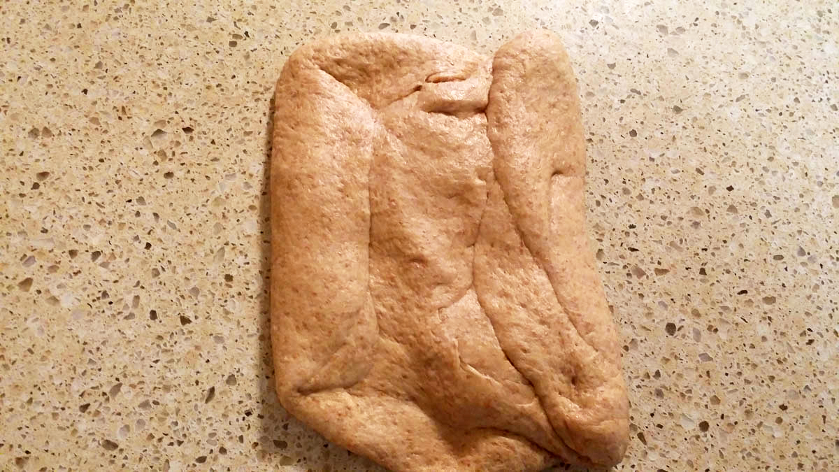 honey whole wheat bread dough flattened on counter with sides folded in