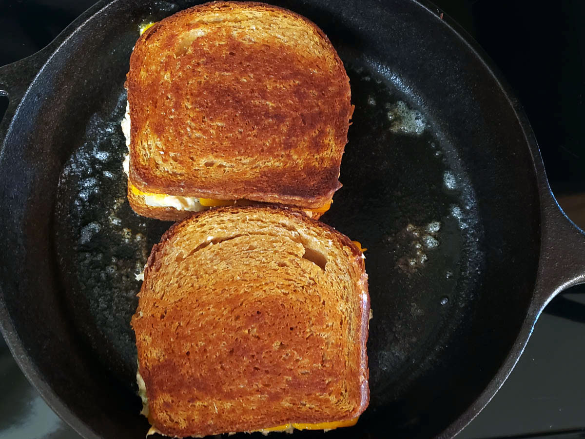 Simple Tune Melt Sandwiches cooking in the skillet