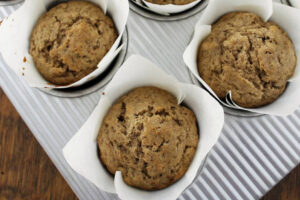 Sourdough Cinnamon Pecan Muffins in muffin tin