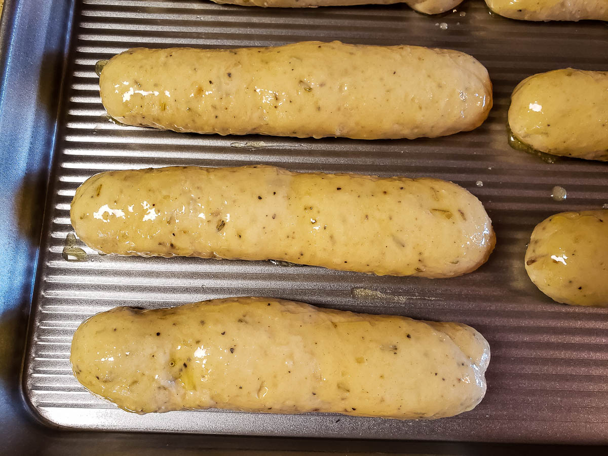 risen Parmesan Rosemary Breadsticks brushed with garlic butter