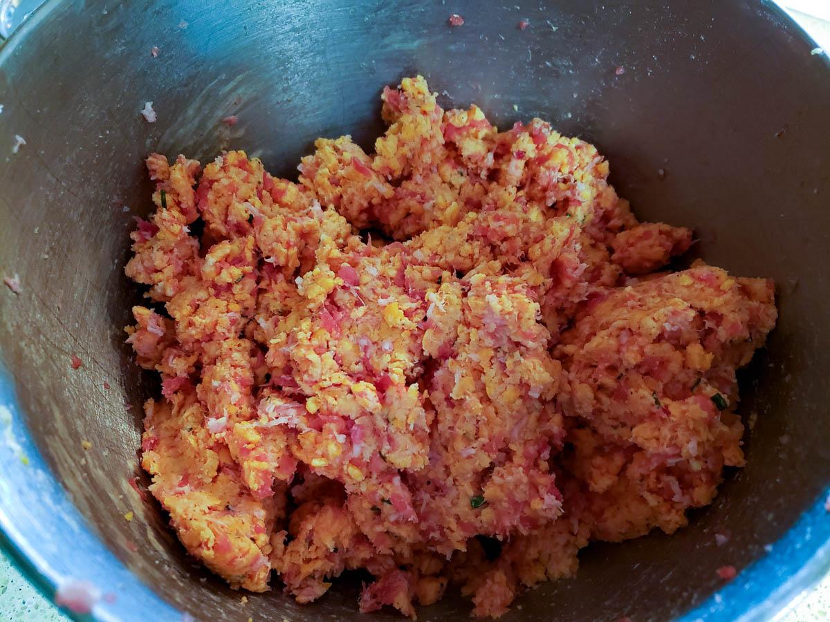 Sourdough Sausage Ball mixture in mixing bowl