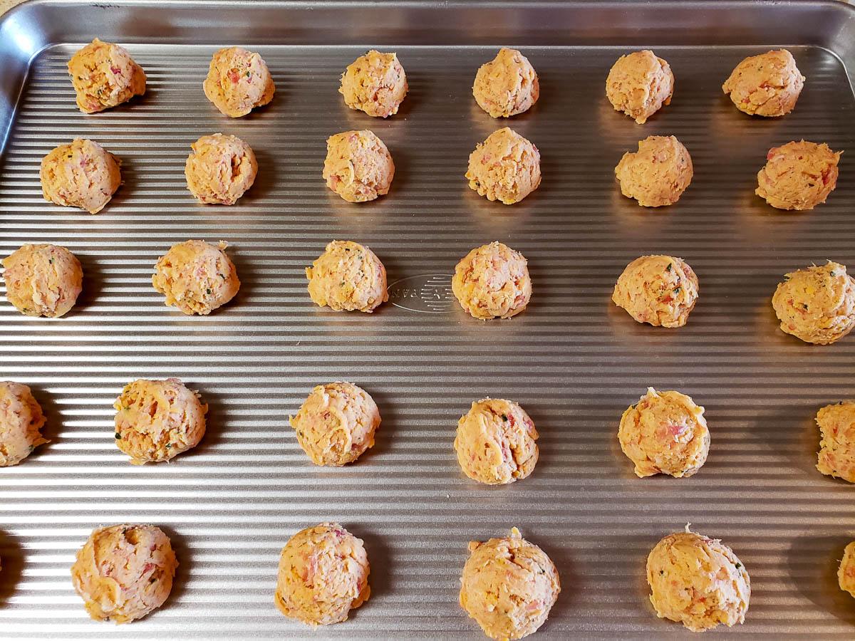 Sourdough Sausage Balls on baking sheet
